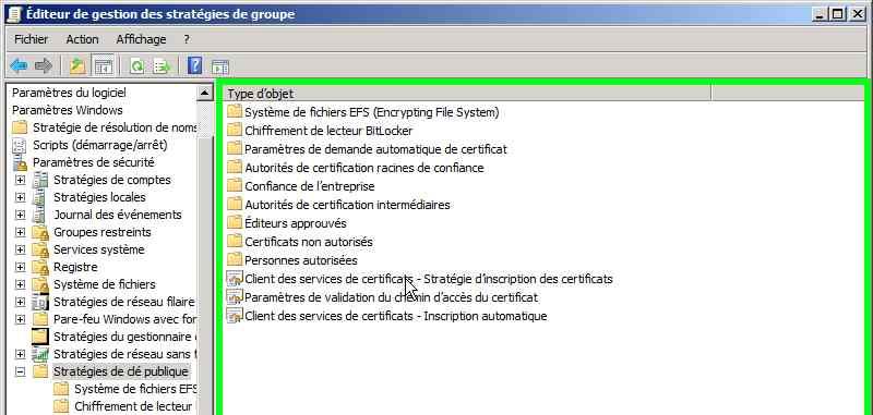Inscription Automatique De Certificats Avec Une Pki Sous