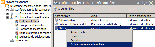 Activation d'un utilisateur pour la messagerie unifiée